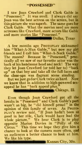 Photoplay Letters to the Editor